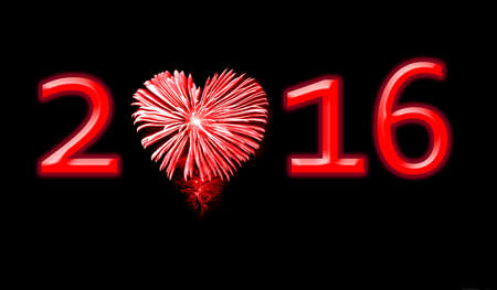love explode: 2016, red fireworks in the shape of a heart Stock Photo