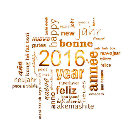 new year: 2016 new year multilingual golden text word cloud square greeting card on black background