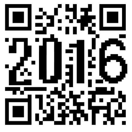 2016 written inside a QR code Stock Photo