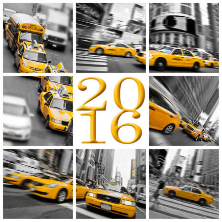 taxi: 2016 yellow taxis in New York square greeting card