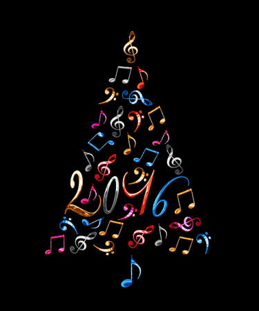 new year of trees: 2016 christmas tree with colorful metal musical notes isolated on black background Stock Photo