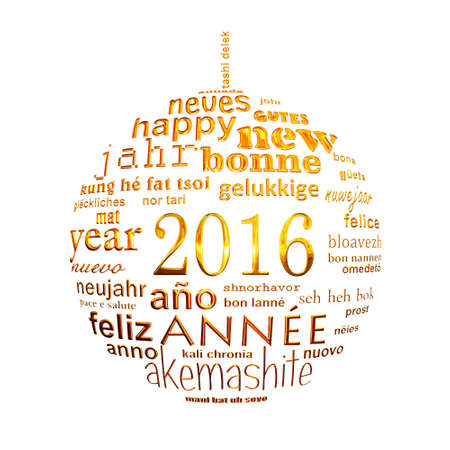 cloud shape: 2016 new year multilingual text word cloud greeting card in the shape of a christmas ball