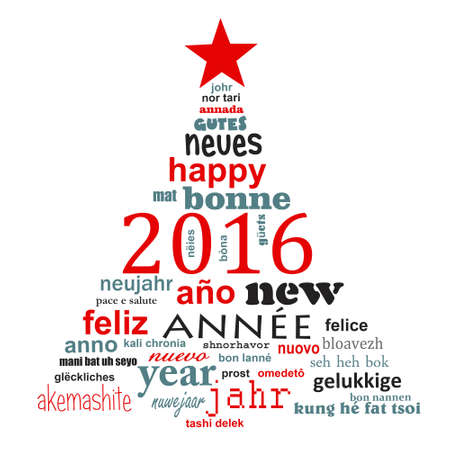 languages: 2016 new year multilingual text word cloud greeting card in the shape of a christmas tree
