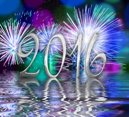 silver reflection: 2016 silver numbers, fireworks background