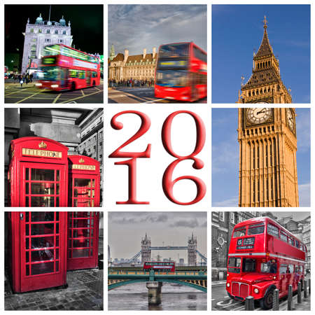 london big ben: 2016 London photos collage greeting card Stock Photo