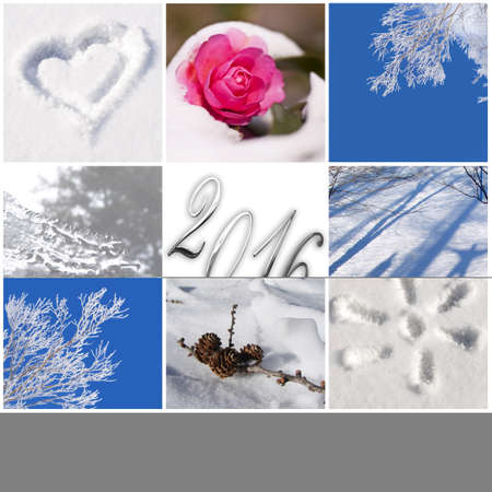 winter photos: 2016, snow and winter photos collage greeting card