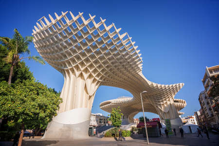 metropol parasol: Seville, Spain - 0ctober 30: Metropol Parasol, modern architecture on Plaza de la Encarnacion on October 30, 2015 in Seville