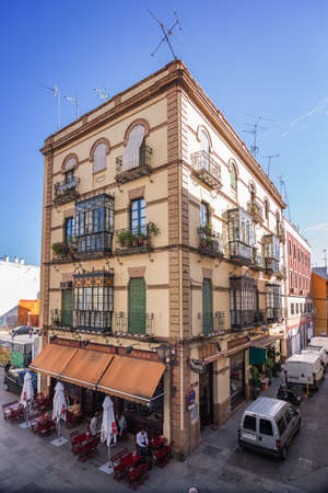bow window: Seville, Sapin - October 30: Traditional building with bow windows, Seville, Spain
