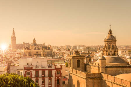 Aerial view of the roofs and the cathedral of Seville, Andalusia, Spain