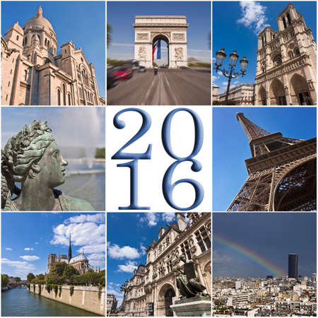 travel collage: 2016 paris travel collage greeting card