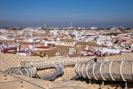 metropol parasol: Aerial view of the roofs of Seville from  the Metropol Parasol on Plaza de Encarnation, Andalusia, Spain