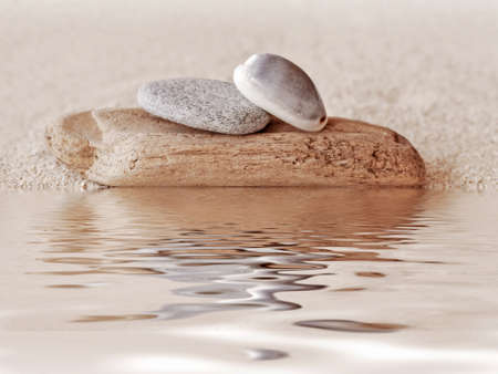 still water: Zen stones, wood, sand and water reflections Stock Photo