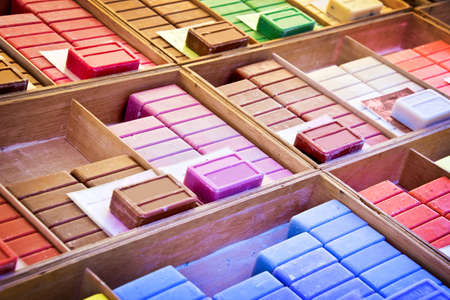 provencal: Choice of colorful french soaps on a market