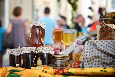 provencal: Homemade honey pots on a provencal market, France