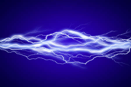 electrical energy: Lightenings effect background in blue sky