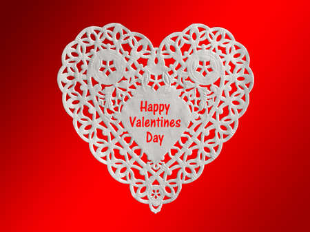 lacy: Valentine card, white heart lacy paper  isolated on red background