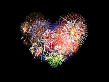 en forme de coeur feux d'artifice colorés Banque d'images