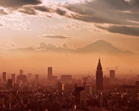 birdeye: Aerial view of Tokyo at sunset, with the silhouette of Mount Fuji in the background