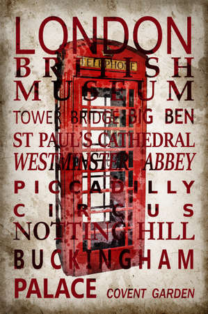 brige: Text with London landmarks on red phone box vintage sepia background Stock Photo