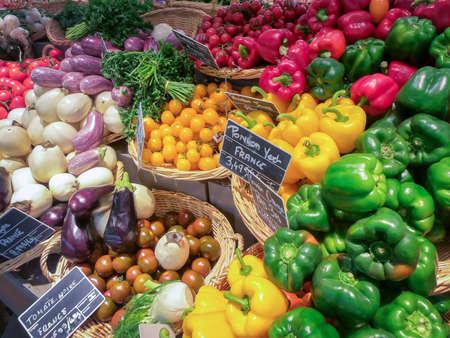 Groente- en fruitmarkt in Frankrijk Stockfoto