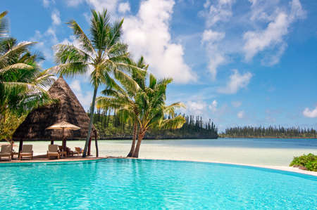 view on sea: Isle of Pines, New Caledonia, The swimming pool of the Meridien hotel, the most luxurious resort of the island