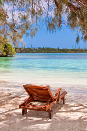 new caledonia: Lounger on a tropical beach, Isle of Pines, New Caledonia