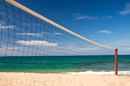 beach volley: Beach volley net, blue sky and sea in the background