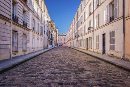 Picturesque cobbled street in Paris, France Stok Fotoğraf