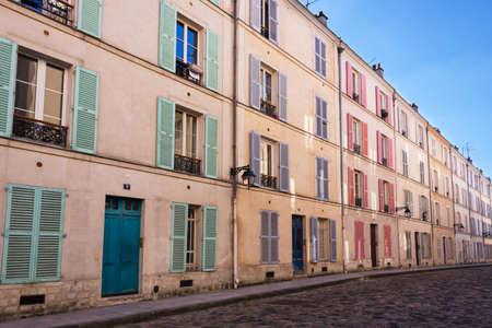 cobbled: Picturesque cobbled street in Paris, France Stock Photo