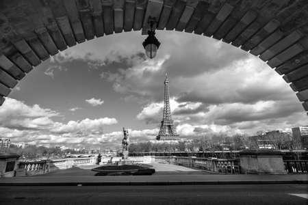 street lamps: Eiffel tower view from Bir Hakeim bridge, Paris, France