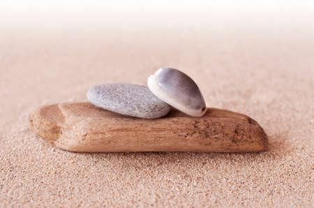 human energy: Zen stones,  sand and seashells