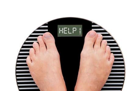 白い背景に分離された体重計に書かれた Word ヘルプ