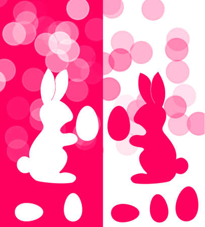 greating card: Easter card, pink and white bunnies