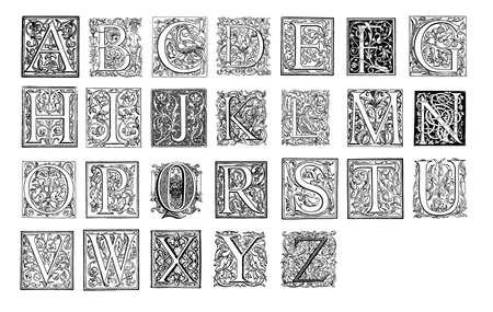 abc calligraphy: Vintage monograms alphabet Stock Photo