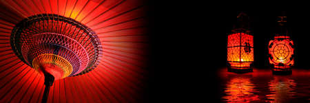 asia people: Red and black asian theme header