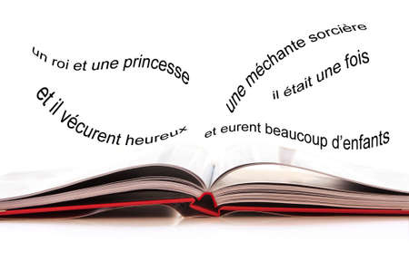 french text: Open book, French text with the begining of an imaginary fairy tale