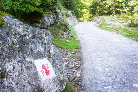 national border: Symbol of the border of the Pyrenees National Park painted on a rock