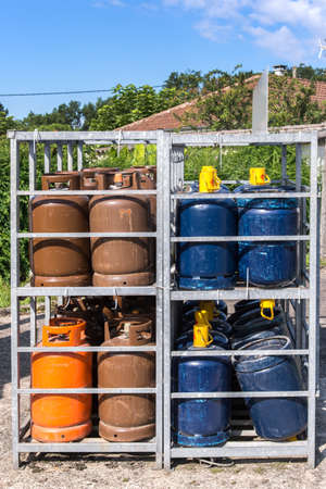 gas cylinder: Gas bottles balloons Stock Photo