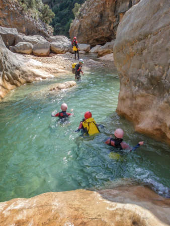 Canyoning in Barranco Oscuros, Sierra de Guara, Aragon, Spain