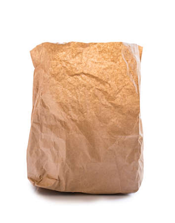 opened bag: Used brown paper bag on white background
