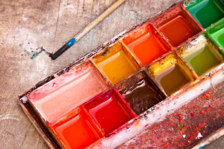 paintbox: Watercolor paintbox and pencil Stock Photo