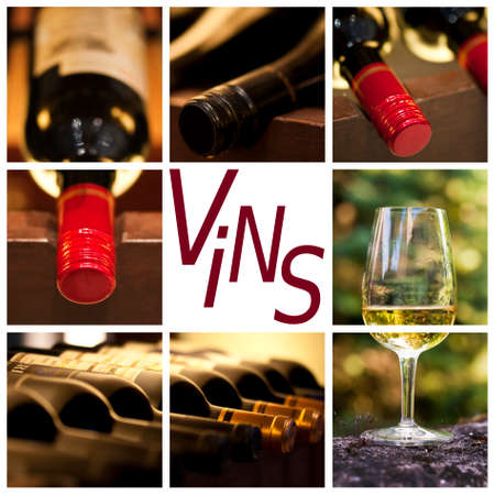 vins: Oenology and wine concept collage, word vins, meaning wine in French