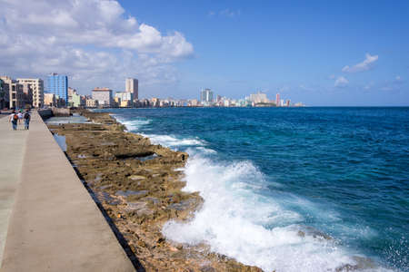 seafront: View of the Malecon, the seafront promenade in Havana Cuba