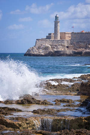 bay: Morro castle view from the Malecon, Havana, Cuba