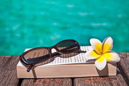 Book and sunglasses, blue water, background Stok Fotoğraf