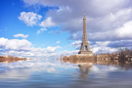 deluge: Flood illustration of the river Seine, Eiffel tower, Paris, France