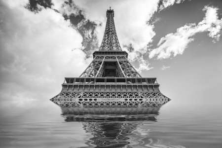 dystopia: Flood illustration with Eiffel tower, Paris France