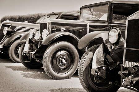 Vintage auto's, zwart-wit