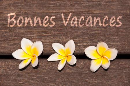 exotism: Text Bonnes vacances (meaning happy summer in French) with plumeria flower on wooden floor background