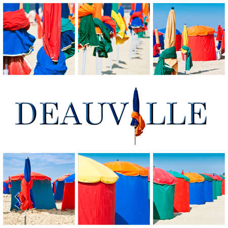 normandy: Deauville beach collage, Normandy, France